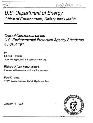 Primary view of object titled 'Critical comments on the US Environmental Protection Agency Standards 40 CFR 191'.