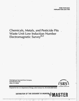 Primary view of object titled 'Chemicals, metals, and pesticide pits waste unit low induction number electromagnetic survey'.