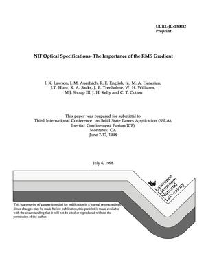 Primary view of object titled 'NIF optical specifications - the importance of the RMS gradient specification'.