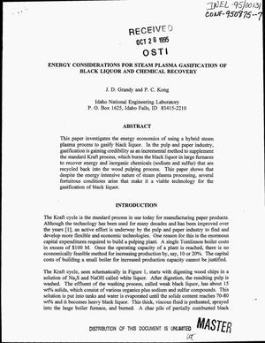 Primary view of object titled 'Energy considerations for steam plasma gasification of black liquor and chemical recovery'.
