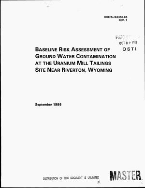 Primary view of object titled 'Baseline risk assessment of ground water contamination at the uranium mill tailings site near Riverton, Wyoming. Revision 1'.