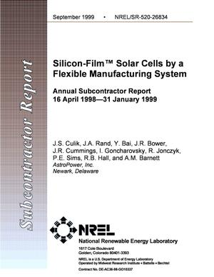 Primary view of object titled 'Silicon-Film{trademark} Solar Cells by a Flexible Manufacturing System'.