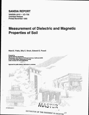 Primary view of object titled 'Measurement of dielectric and magnetic properties of soil'.