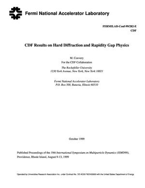 Primary view of object titled 'CDF results on hard diffraction and rapidity gap physics'.