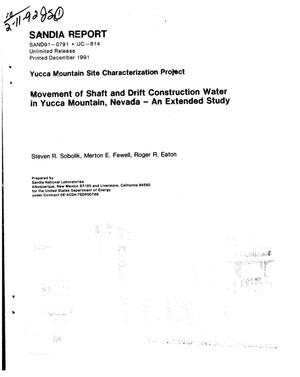 Primary view of object titled 'Movement of shaft and drift construction water in Yucca Mountain, Nevada: An extended study; Yucca Mountain Site Characterization Project'.