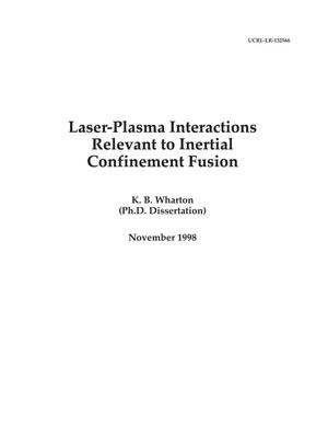 Primary view of object titled 'Laser-plasma interactions relevant to Inertial Confinement Fusion'.