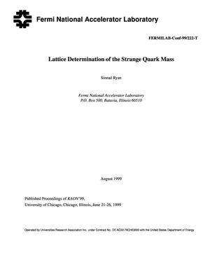Primary view of object titled 'Lattice determinations of the strange quark mass'.