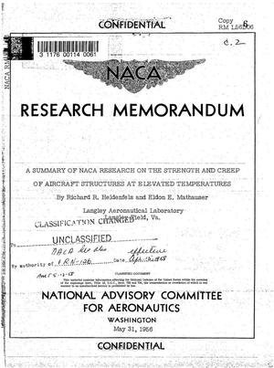 Primary view of object titled 'A summary of NACA research on the strength and creep of aircraft structures at elevated temperatures'.