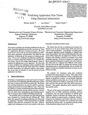 Primary view of object titled 'Predicting application run times using historical information.'.