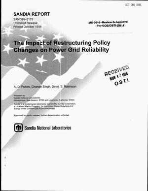 Primary view of object titled 'The Impact of Restructuring Policy Changes on Power Grid Reliability'.