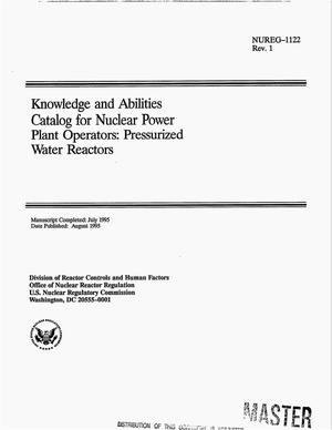 Primary view of object titled 'Knowledge and abilities catalog for nuclear power plant operators: Pressurized water reactors. Revision 1'.