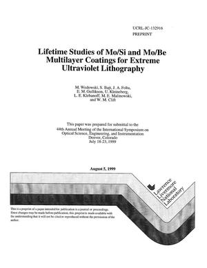 Primary view of object titled 'Lifetime studies of Mo/Si and Mo/Be multilayer coatings for extreme ultraviolet lithography'.