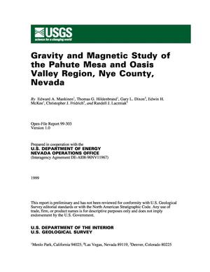 Gravity and magnetic study of the Pahute Mesa and Oasis Valley