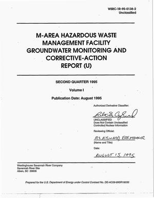 Primary view of object titled 'M-Area Hazardous Waste Management Facility groundwater monitoring and corrective-action report. Second quarter 1995, Volume 1'.