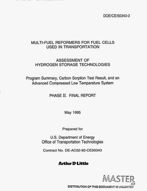 Primary view of object titled 'Multi-fuel reformers for fuel cells used in transportation: Assessment of hydrogen storage technologies. Phase 2: Final report'.
