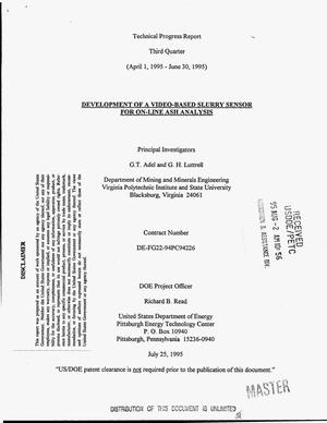 Primary view of object titled 'Development of a video-based slurry sensor for on-line ash analysis. Technical progress report, third quarter, April 1, 1995--June 30, 1995'.