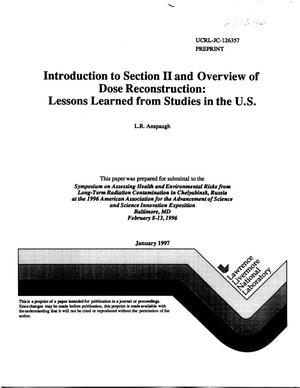 Primary view of object titled 'Introduction of section II and overview of dose reconstruction: lessons learned from studies in the U.S.'.