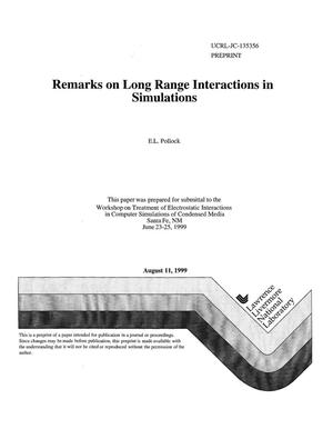 Primary view of object titled 'Remarks on long range interactions in simulations'.