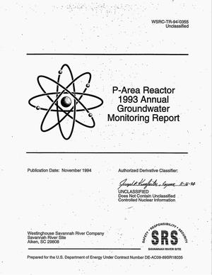 Primary view of object titled 'P-Area Reactor 1993 annual groundwater monitoring report'.