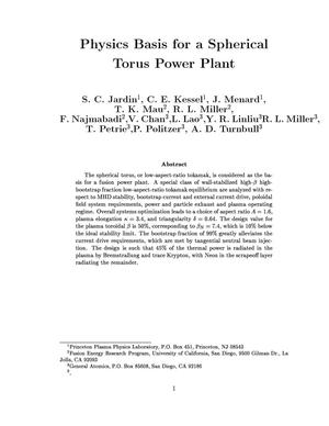 Primary view of object titled 'Physics Basis for a Spherical Torus Power Plant'.