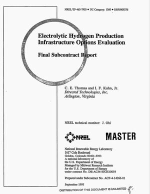 Primary view of object titled 'Electrolytic hydrogen production infrastructure options evaluation. Final subcontract report'.