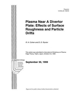 Primary view of object titled 'Plasma near a divertor plate: effects of surface roughness and particle drifts'.