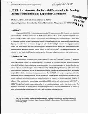 Primary view of object titled 'JCZS: An Intermolecular Potential Database for Performing Accurate Detonation and Expansion Calculations'.