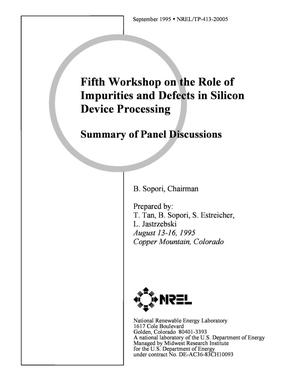 Primary view of object titled 'Fifth workshop on the role of impurities and defects in silicon device processing: Summary of panel discussions'.