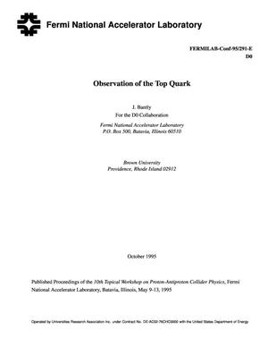 Primary view of object titled 'Observation of the top quark'.