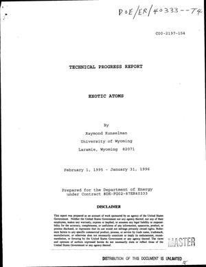 Primary view of object titled 'Exotic atoms. Technical progress report, February 1, 1995--January 31, 1996'.