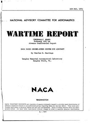 Primary view of object titled 'NACA Radio Ground-Speed System for Aircraft'.