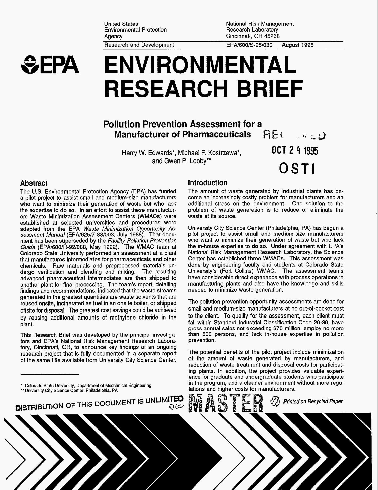 Environmental Research Brief: Pollution prevention assessment for a manufacturer of pharmaceuticals                                                                                                      [Sequence #]: 1 of 7