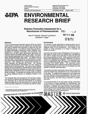 Primary view of object titled 'Environmental Research Brief: Pollution prevention assessment for a manufacturer of pharmaceuticals'.