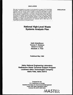 Primary view of object titled 'National high-level waste systems analysis plan'.