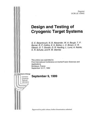 Primary view of object titled 'Design and testing of cryogenic target systems'.