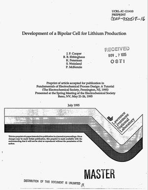 Primary view of object titled 'Development of a bipolar cell for lithium production'.