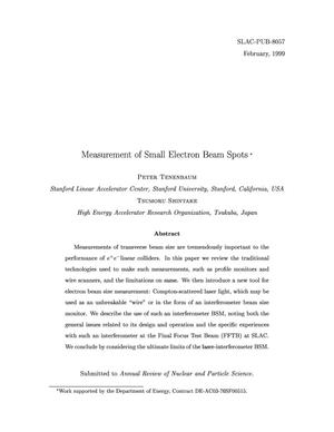 Primary view of object titled 'Measurement of Small Electron Beam Spots'.