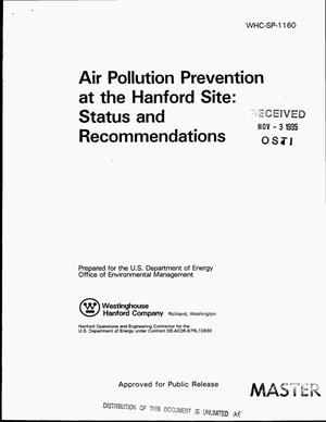 Primary view of object titled 'Air pollution prevention at the Hanford Site: Status and recommendations'.