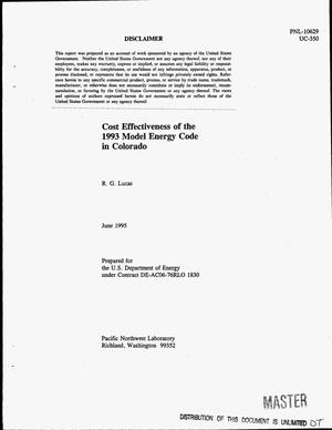Primary view of object titled 'Cost effectiveness of the 1993 Model Energy Code in Colorado'.