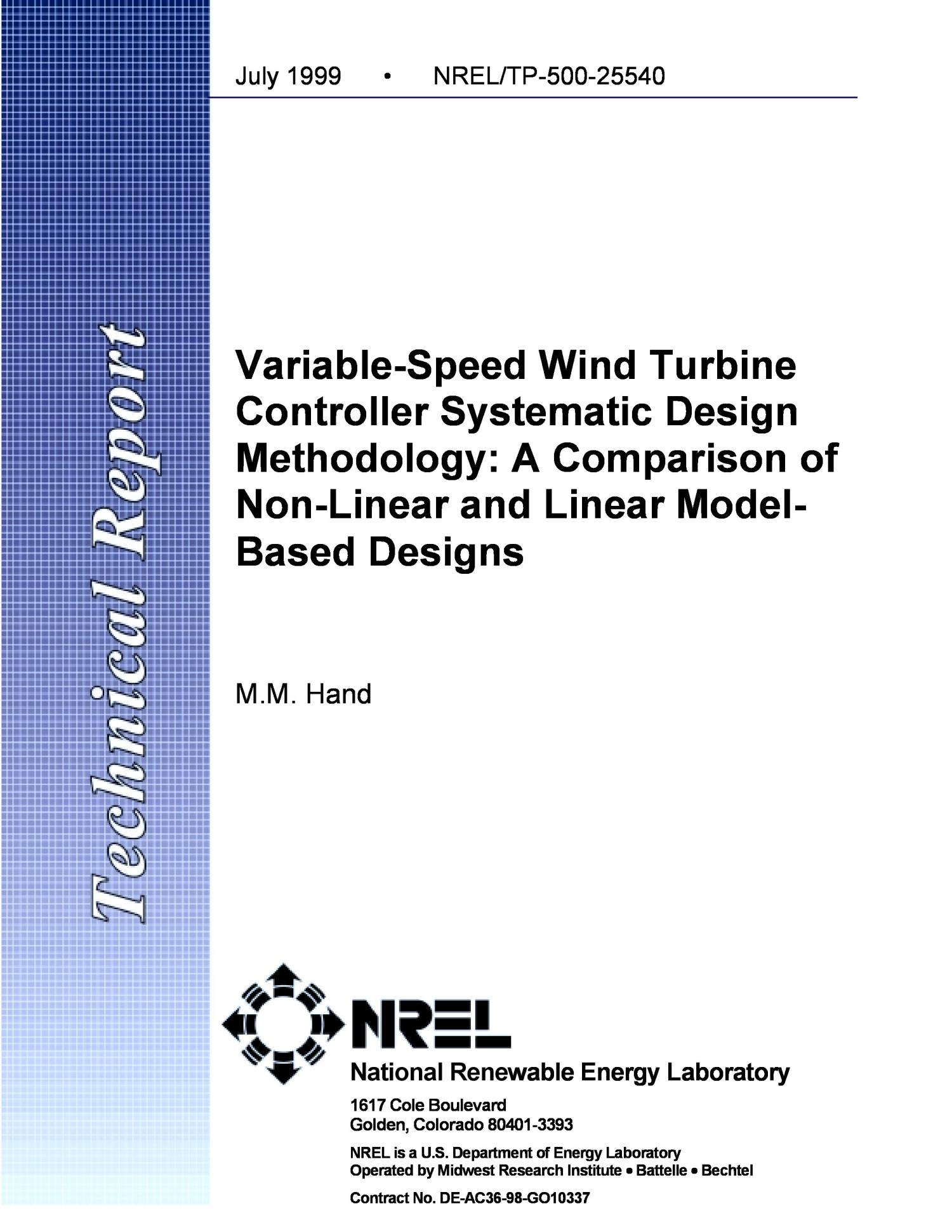 Variable Speed Wind Turbine Controller Systematic Design