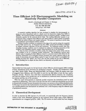 Primary view of object titled 'Time efficient 3-D electromagnetic modeling on massively parallel computers'.