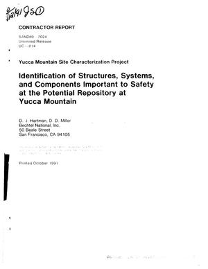 Primary view of object titled 'Identification of structures, systems, and components important to safety at the potential repository at Yucca Mountain; Yucca Mountain Site Characterization Project'.