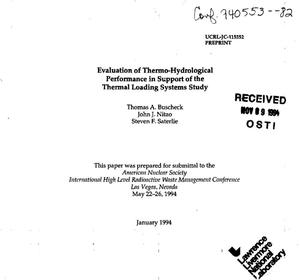Primary view of object titled 'Evaluation of thermo-hydrological performance in support of the thermal loading systems study'.
