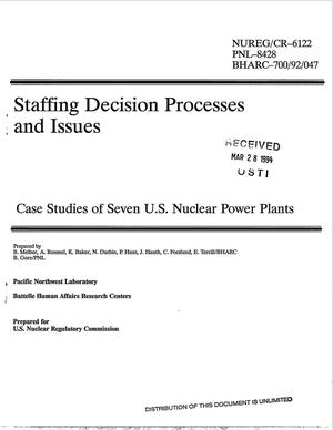 Primary view of object titled 'Staffing decision processes and issues: Case studies of seven US Nuclear Power Plants'.