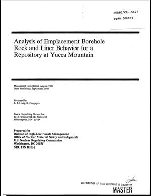 Primary view of object titled 'Analysis of emplacement borehole rock and liner behavior for a repository at Yucca Mountain'.