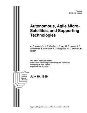 Primary view of object titled 'Autonomous, agile micro-satellites and supporting technologies'.
