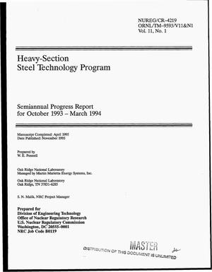 Primary view of object titled 'Heavy-section steel technology program: Semiannual progress report, October 1993--March 1994. Volume 11, No. 1'.