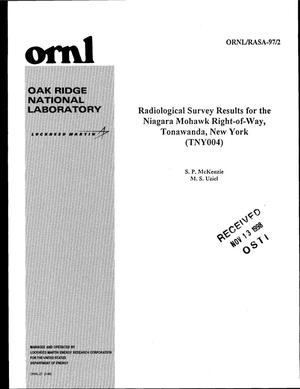 Primary view of object titled 'Radiological Survey Results for the Niagara Mohawk Right-of-Way, Tonawanda, New York (TNY004)'.