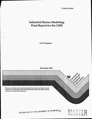 Primary view of object titled 'Industrial burner modeling: Final report for the CIEE'.