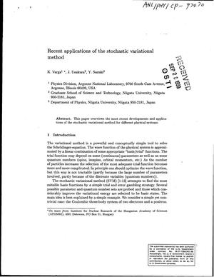 Primary view of object titled 'Recent applications of the stochastic variational method.'.